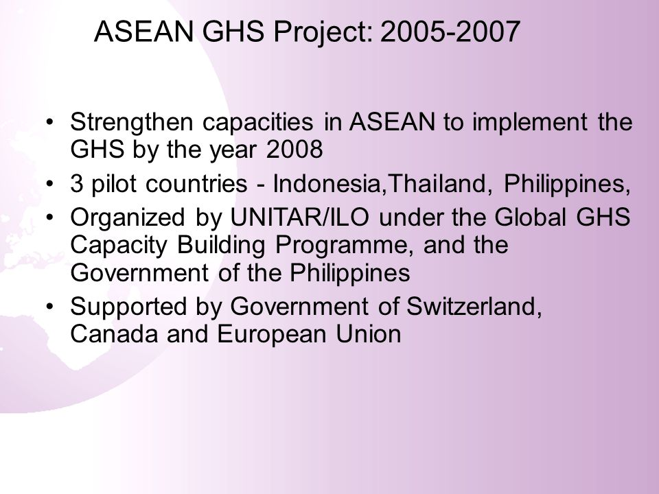 ASEAN GHS Project: 2005-2007 Strengthen capacities in ASEAN to implement the GHS by the year 2008.