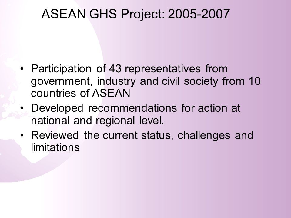 ASEAN GHS Project: 2005-2007 Participation of 43 representatives from government, industry and civil society from 10 countries of ASEAN.