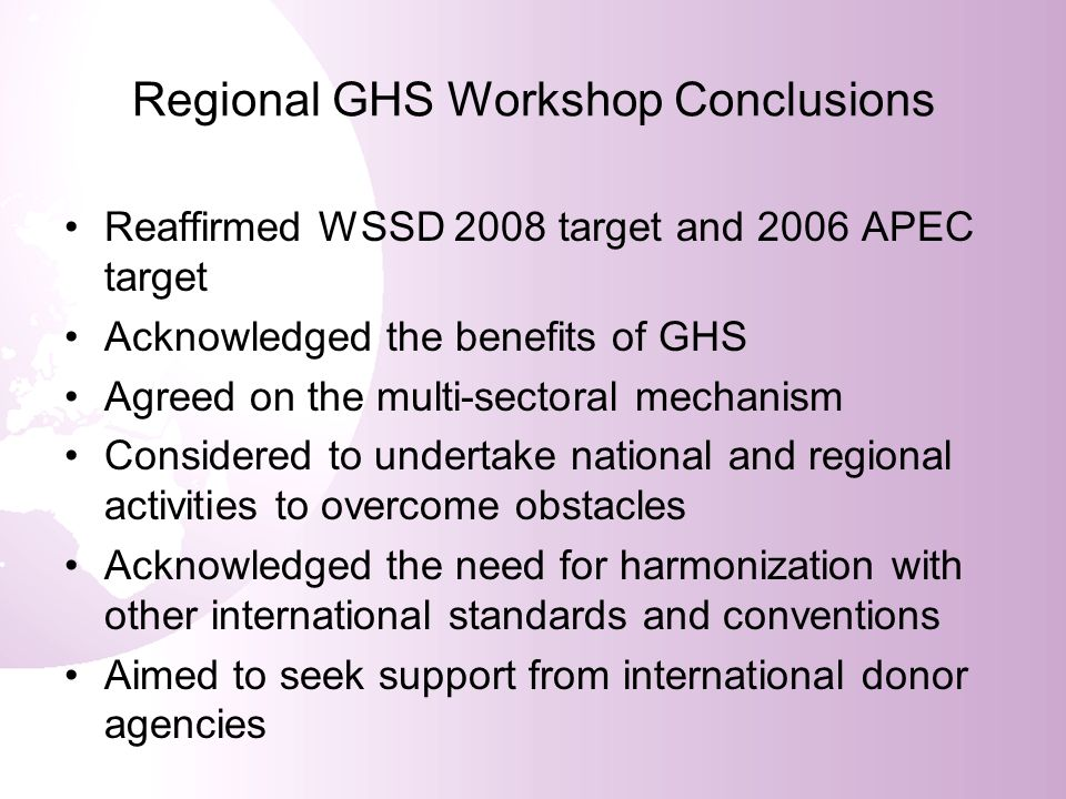 Regional GHS Workshop Conclusions