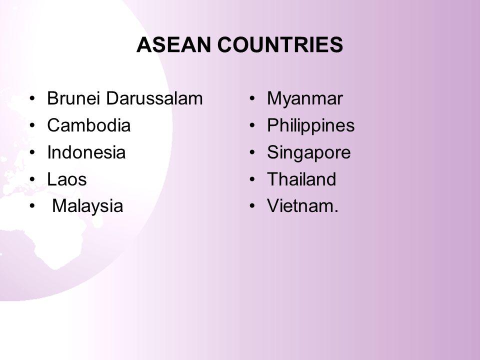 ASEAN COUNTRIES Brunei Darussalam Cambodia Indonesia Laos Malaysia