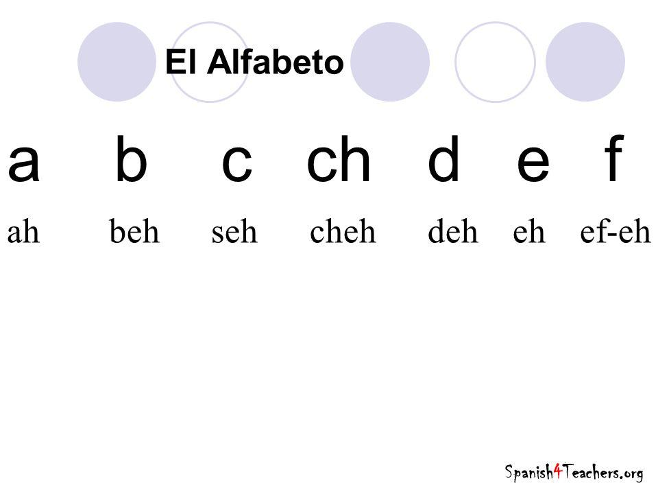 a b c ch d e f El Alfabeto ah beh seh cheh deh eh ef-eh