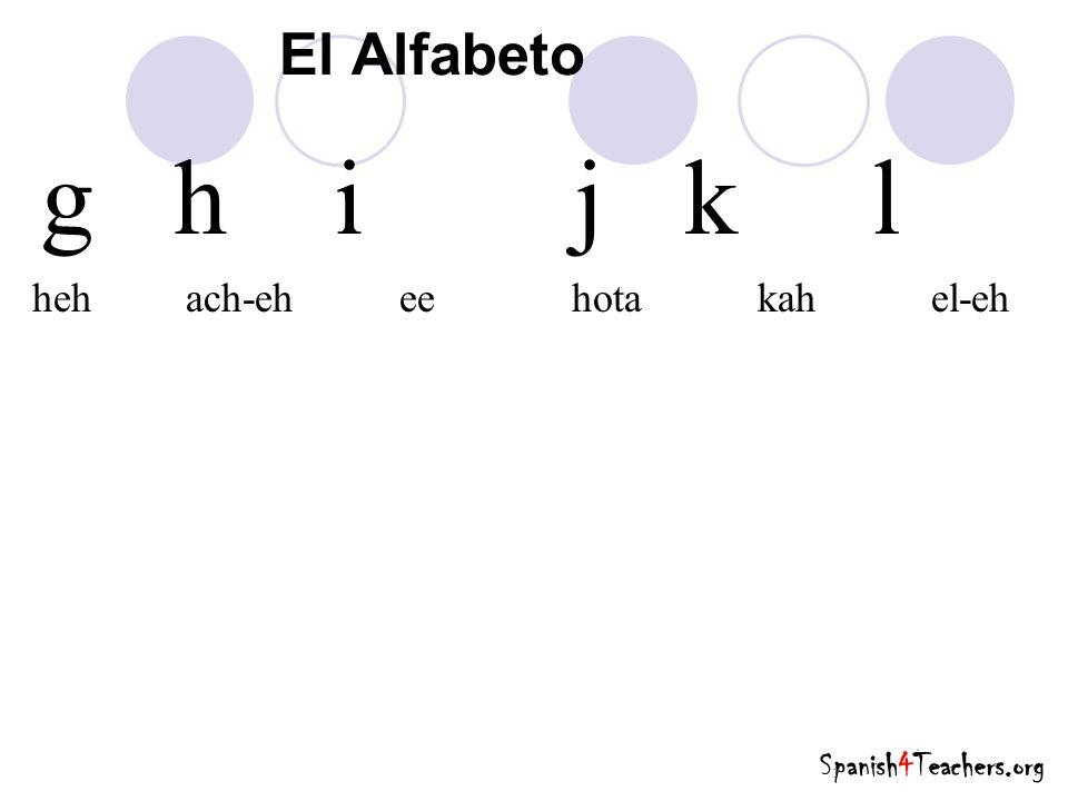 g h i j k l El Alfabeto heh ach-eh ee hota kah el-eh