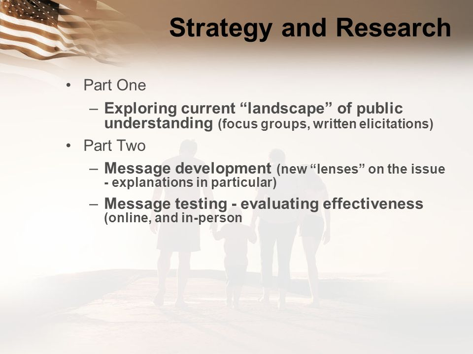 Strategy and Research Part One