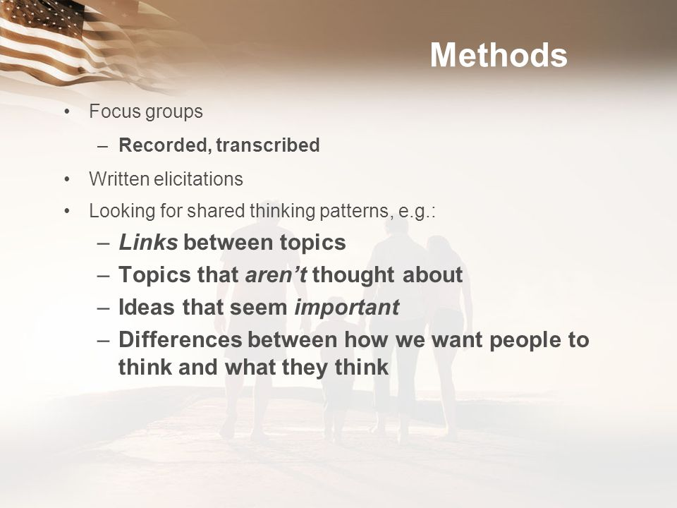 Methods Links between topics Topics that aren't thought about