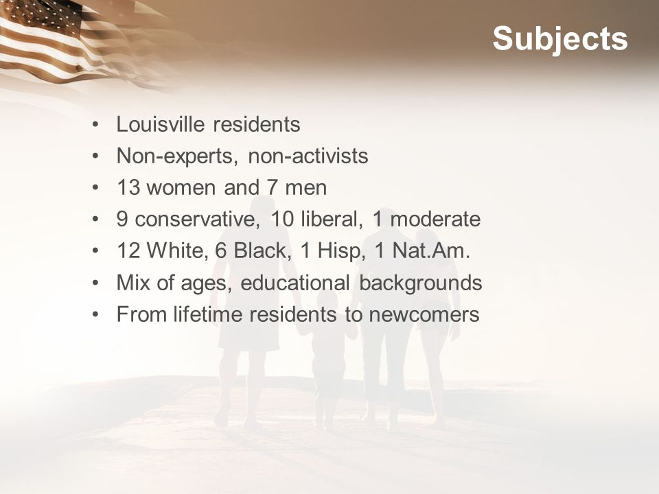 Subjects Louisville residents Non-experts, non-activists