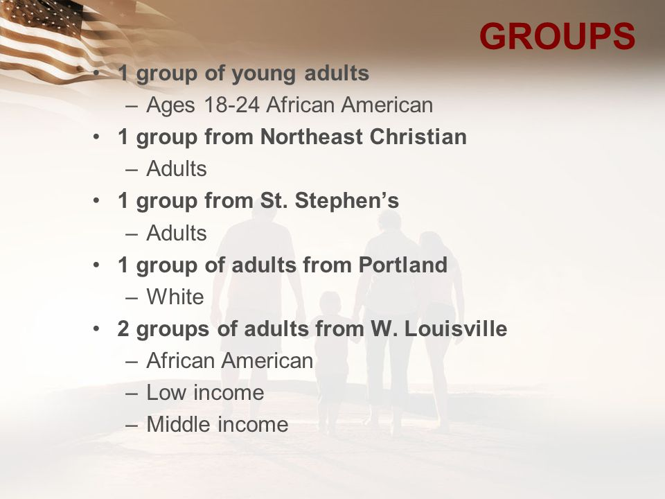 GROUPS 1 group of young adults Ages African American
