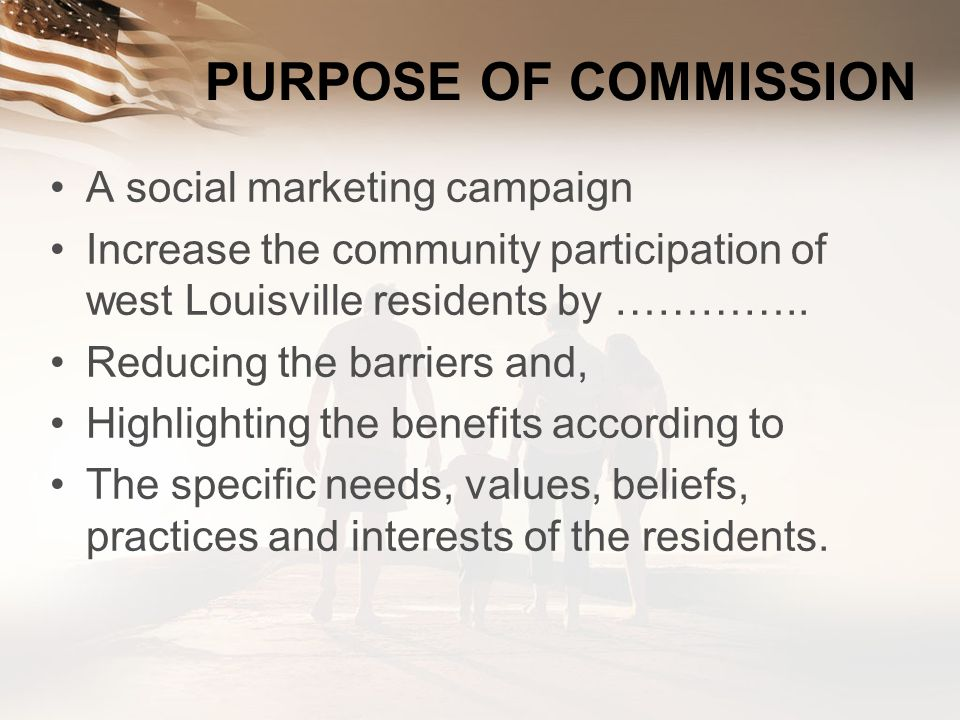 PURPOSE OF COMMISSION A social marketing campaign
