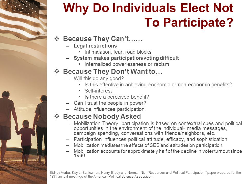 Why Do Individuals Elect Not To Participate