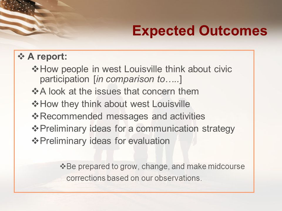 Expected Outcomes A report: