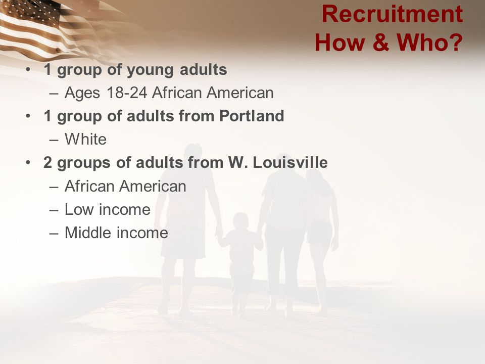 Recruitment How & Who 1 group of young adults