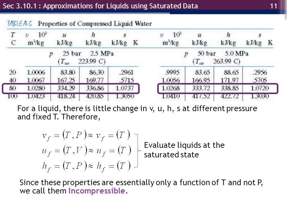 Evaluate liquids at the saturated state