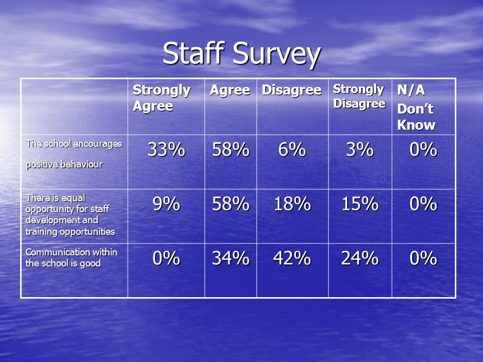 Staff Survey 33% 58% 6% 3% 0% 9% 18% 15% 34% 42% 24% Strongly Agree