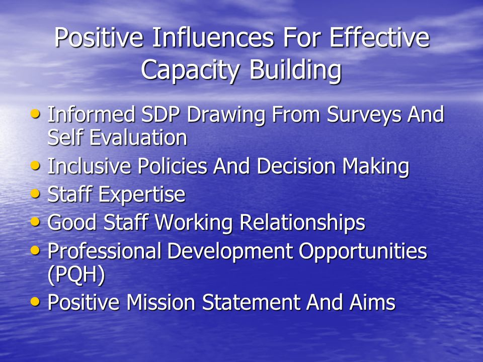 Positive Influences For Effective Capacity Building
