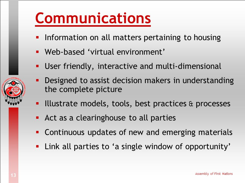 Communications Information on all matters pertaining to housing