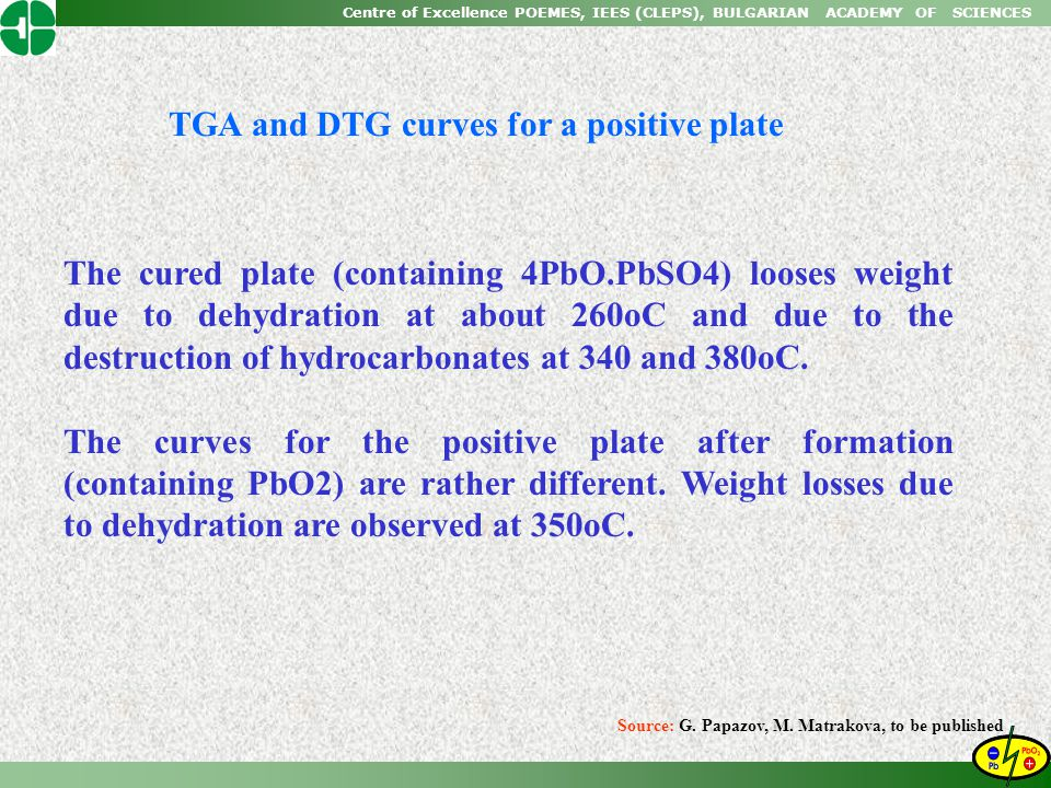 TGA and DTG curves for a positive plate