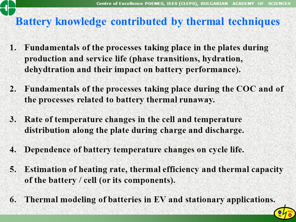 Battery knowledge contributed by thermal techniques