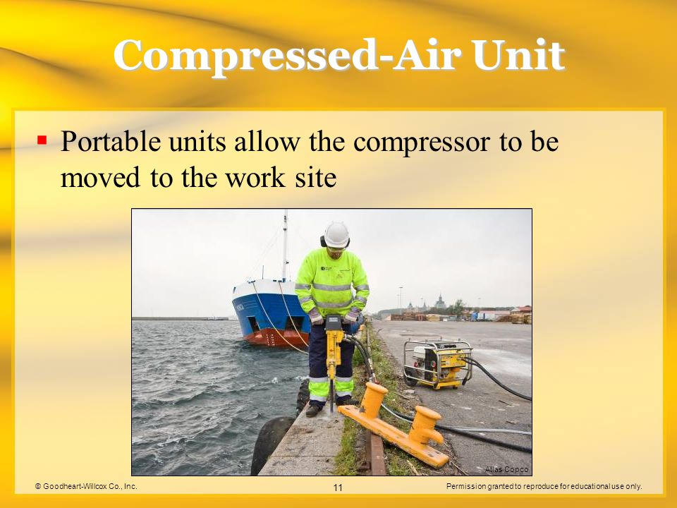Compressed-Air Unit Portable units allow the compressor to be moved to the work site. Atlas Copco.