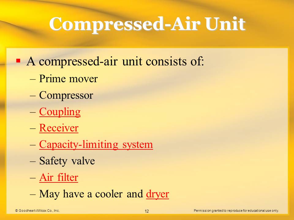 Compressed-Air Unit A compressed-air unit consists of: Prime mover
