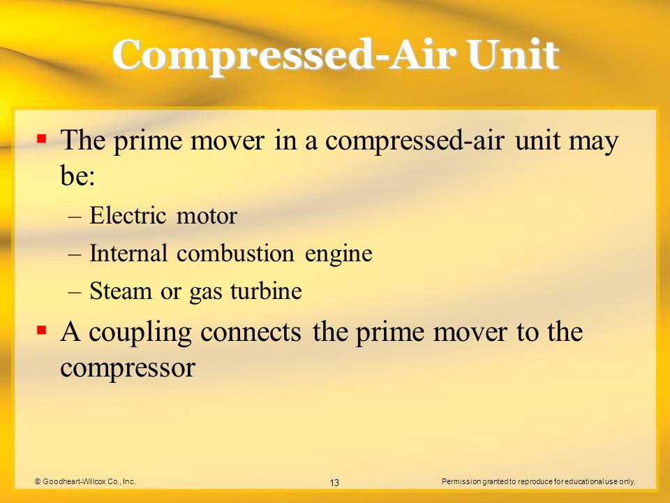 Compressed-Air Unit The prime mover in a compressed-air unit may be: