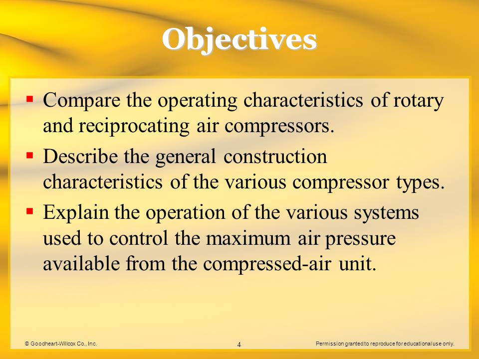 Objectives Compare the operating characteristics of rotary and reciprocating air compressors.