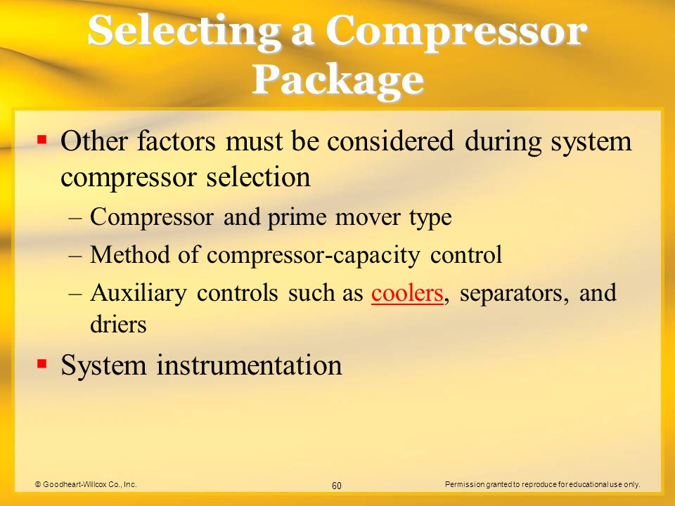 Selecting a Compressor Package