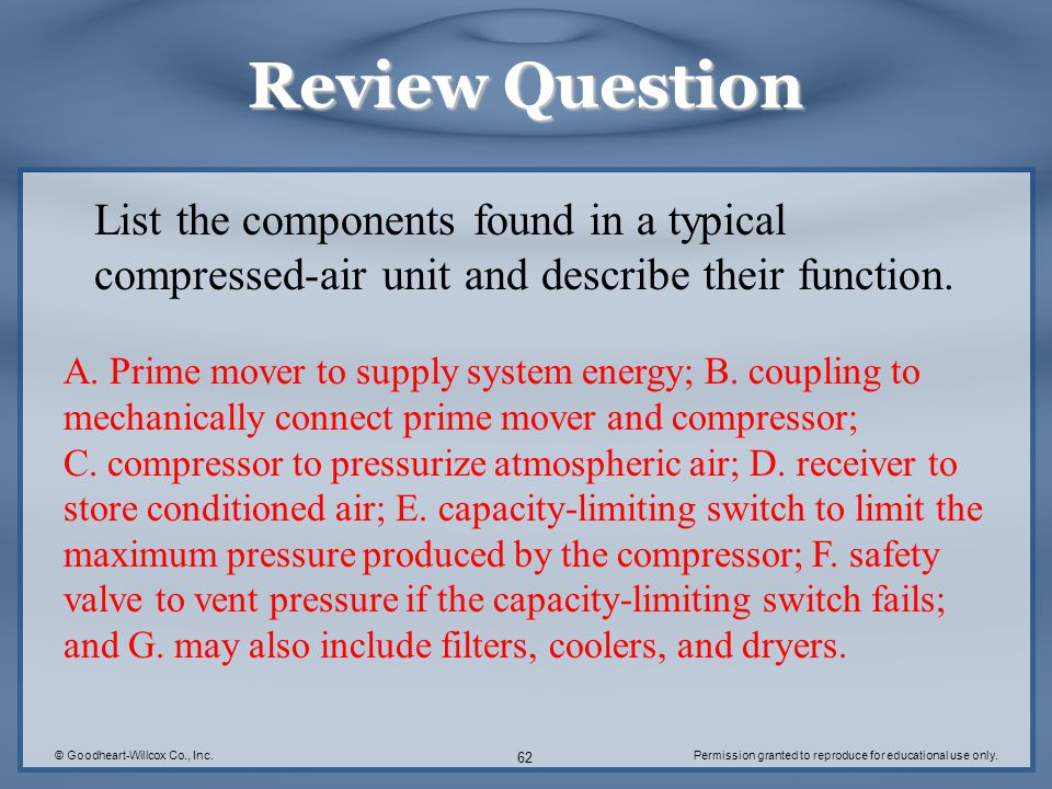 Review Question List the components found in a typical compressed-air unit and describe their function.