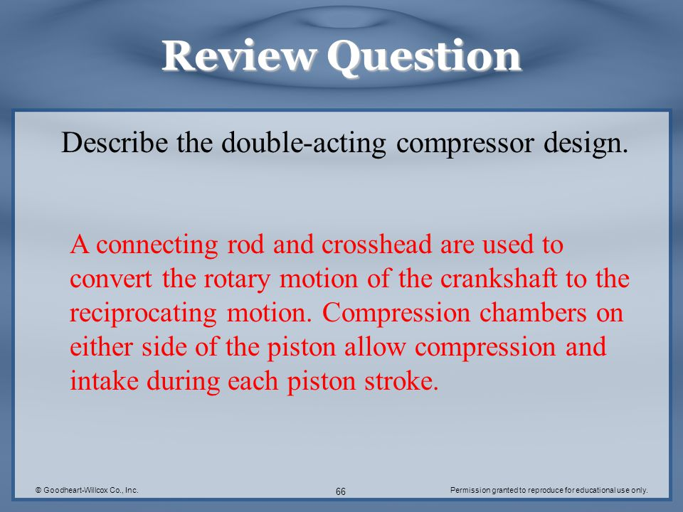 Review Question Describe the double-acting compressor design.