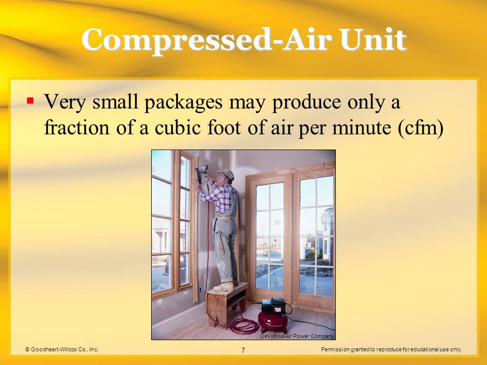 Compressed-Air Unit Very small packages may produce only a fraction of a cubic foot of air per minute (cfm)