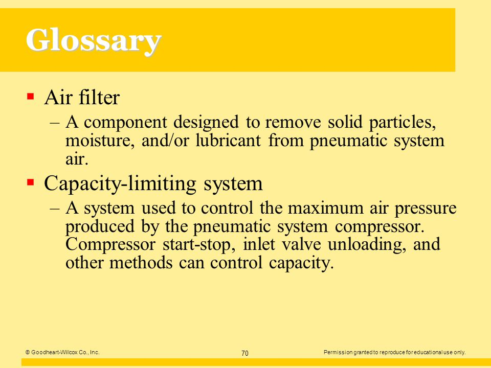 Glossary Air filter Capacity-limiting system