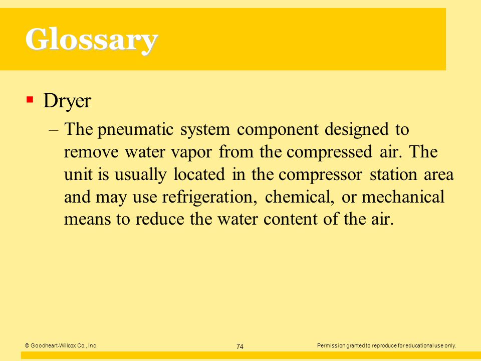 Glossary Dryer.