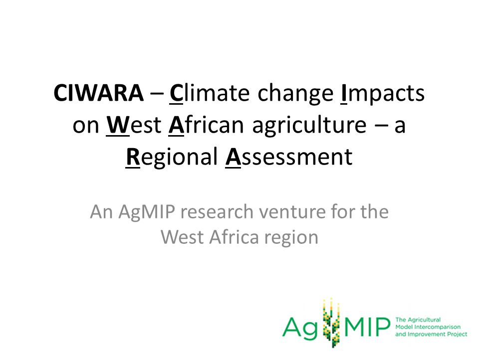 An AgMIP research venture for the West Africa region