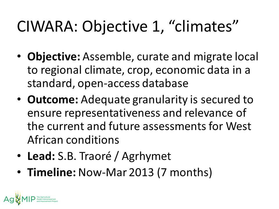 CIWARA: Objective 1, climates