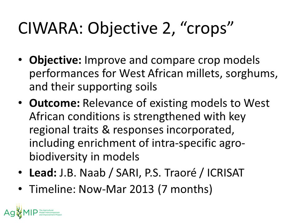 CIWARA: Objective 2, crops