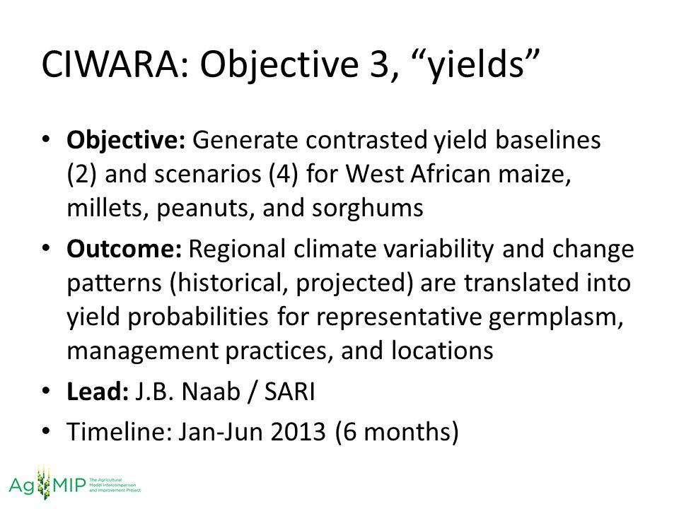 CIWARA: Objective 3, yields