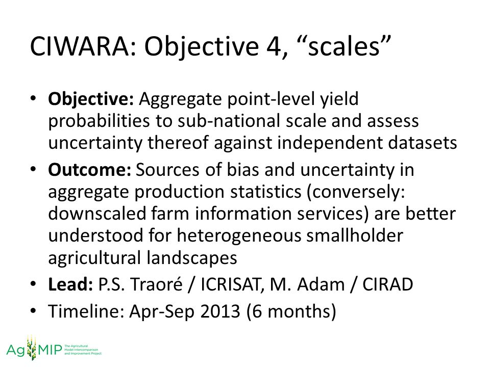 CIWARA: Objective 4, scales