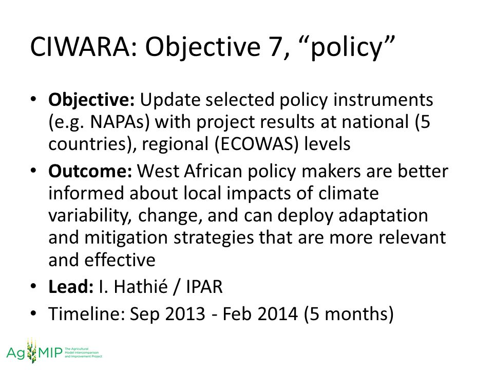 CIWARA: Objective 7, policy