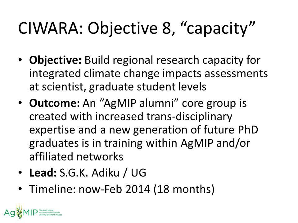CIWARA: Objective 8, capacity