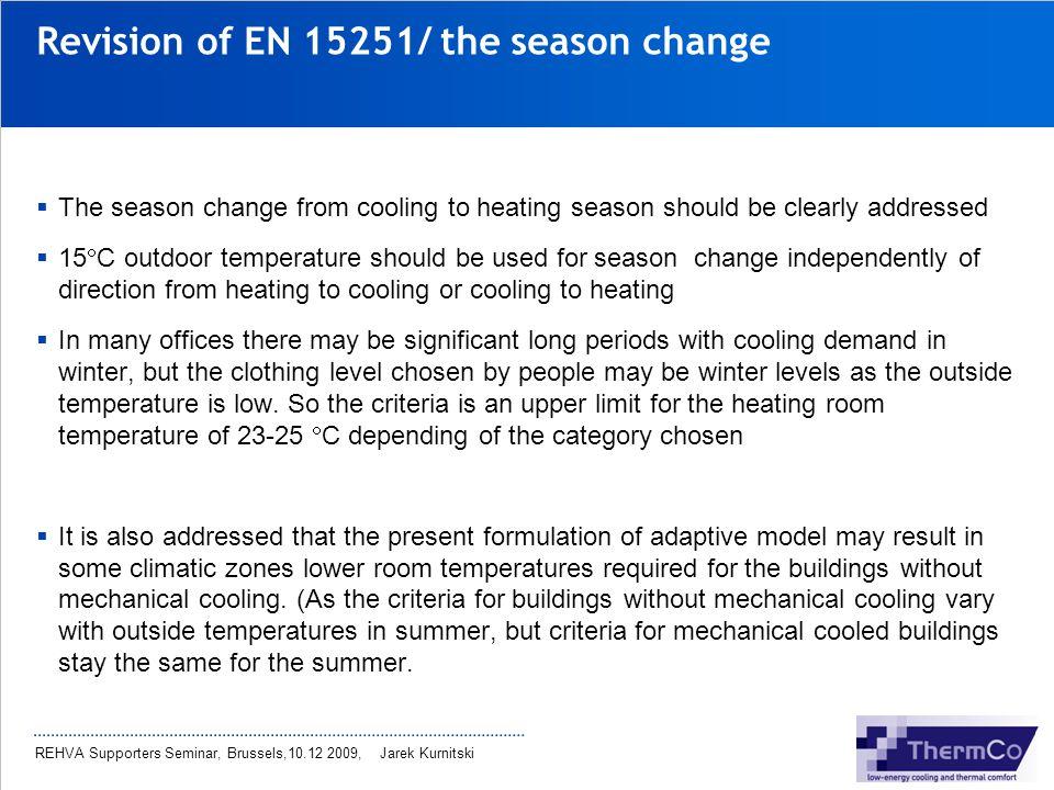 Revision of EN 15251/ the season change