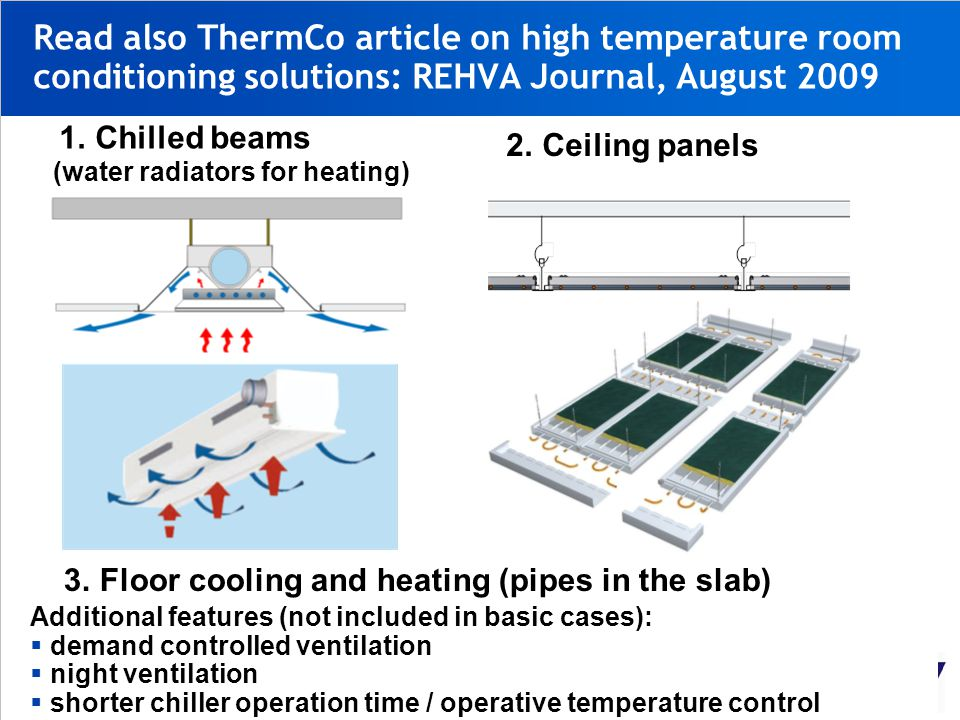 Read also ThermCo article on high temperature room conditioning solutions: REHVA Journal, August 2009