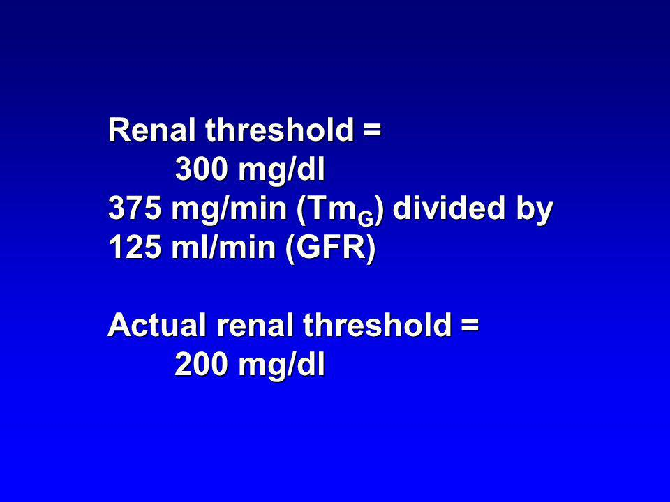 Renal threshold = 300 mg/dl. 375 mg/min (TmG) divided by 125 ml/min (GFR) Actual renal threshold =