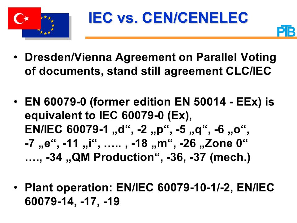 IEC vs. CEN/CENELEC Dresden/Vienna Agreement on Parallel Voting of documents, stand still agreement CLC/IEC.