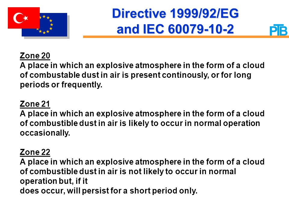 Directive 1999/92/EG and IEC 60079-10-2