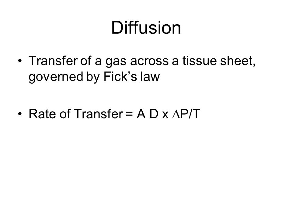 Diffusion Transfer of a gas across a tissue sheet, governed by Fick's law.