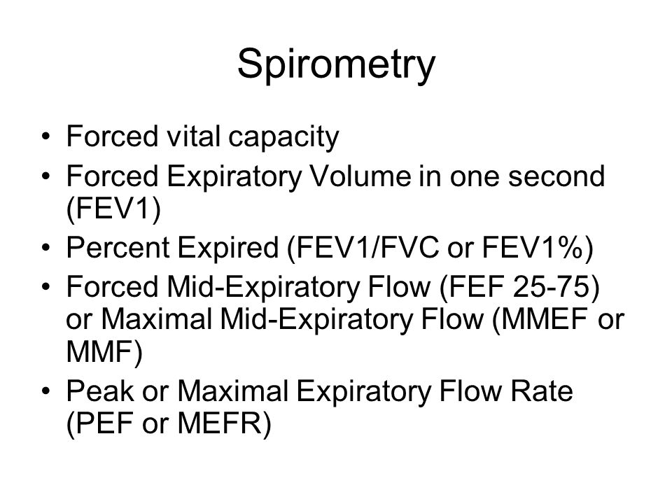 Spirometry Forced vital capacity