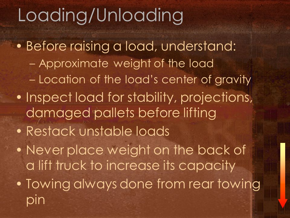 Loading/Unloading Before raising a load, understand: