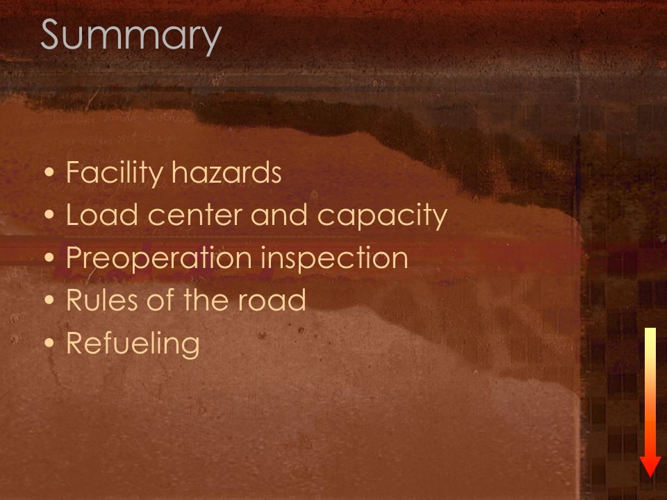 Summary Facility hazards Load center and capacity