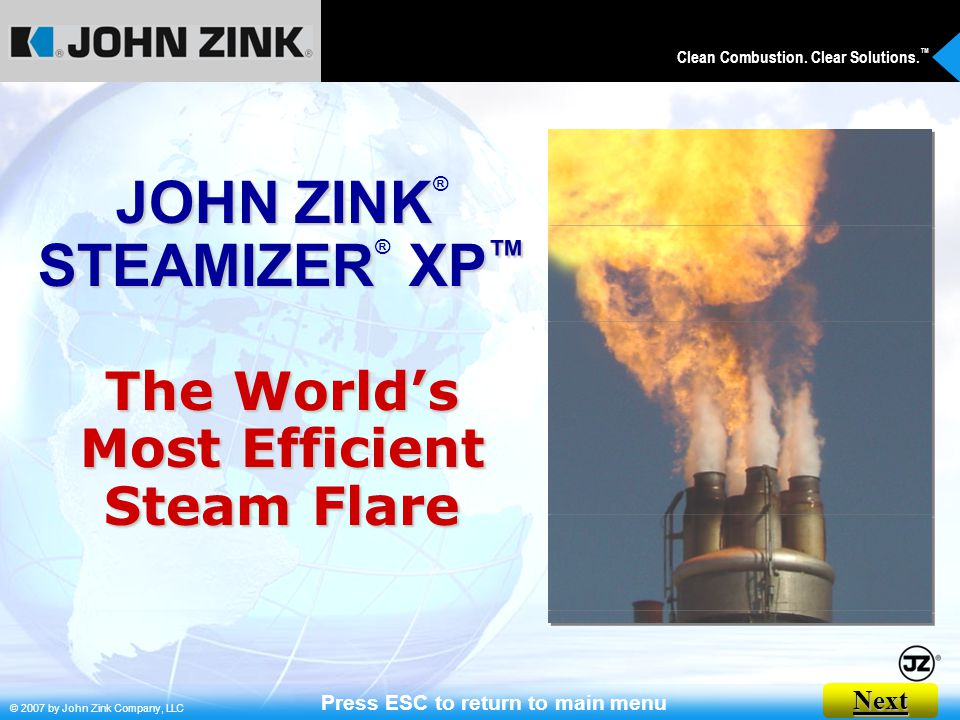 JOHN ZINK® STEAMIZER® XP™ Press ESC to return to main menu
