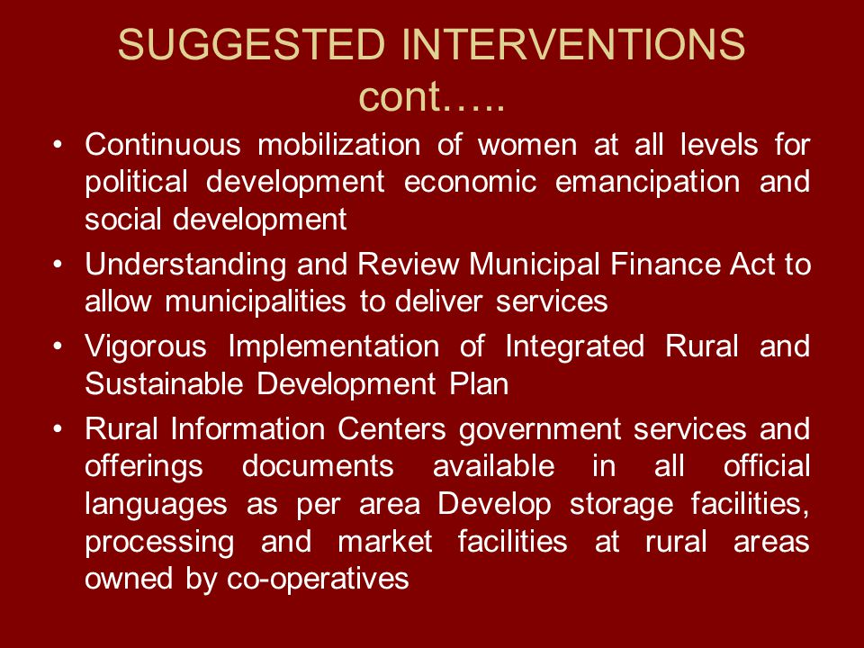 SUGGESTED INTERVENTIONS cont…..