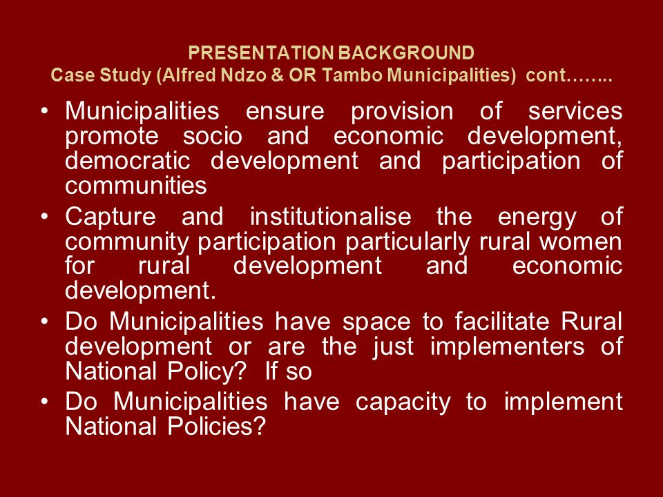 Do Municipalities have capacity to implement National Policies