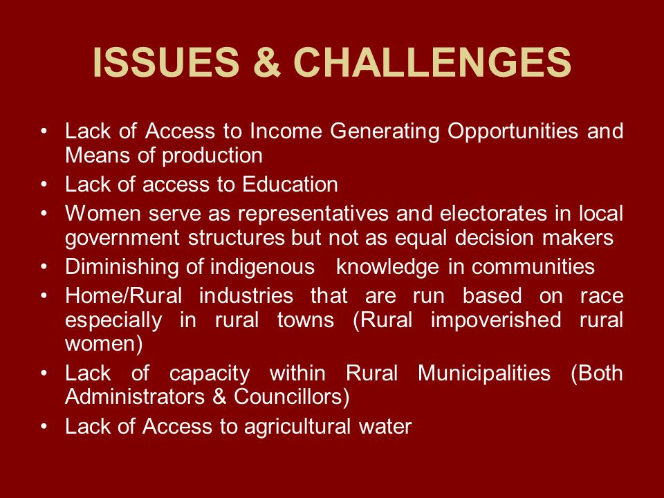 ISSUES & CHALLENGES Lack of Access to Income Generating Opportunities and Means of production. Lack of access to Education.